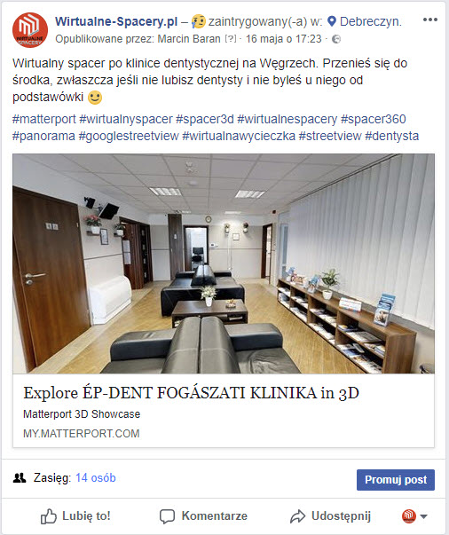 facebook wirtualny spacer 3D