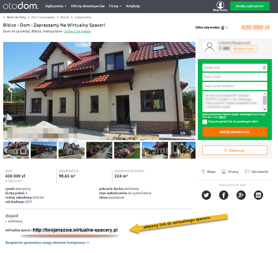wirtualny spacer w portalu otodom.pl