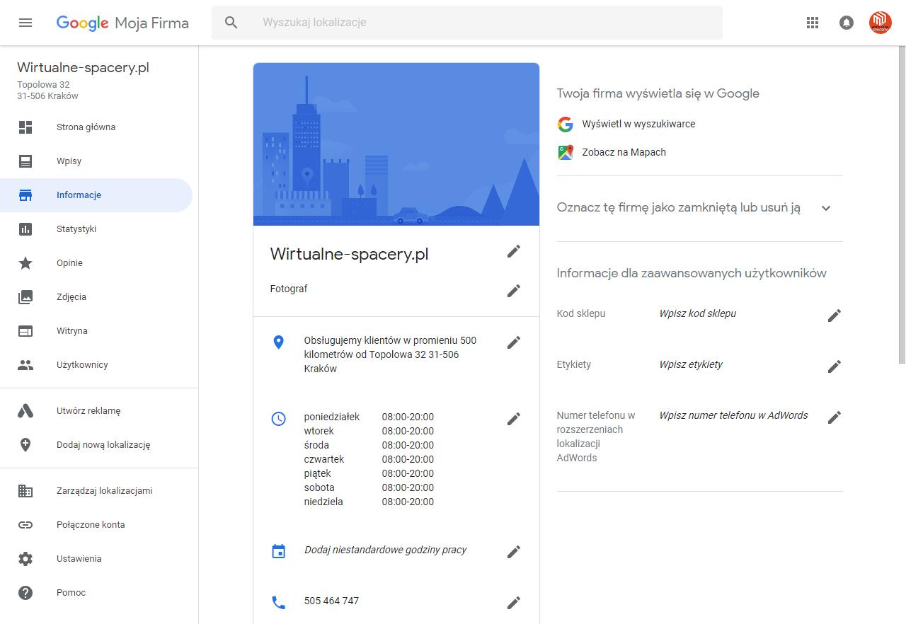 wizytówka firmy Google my business