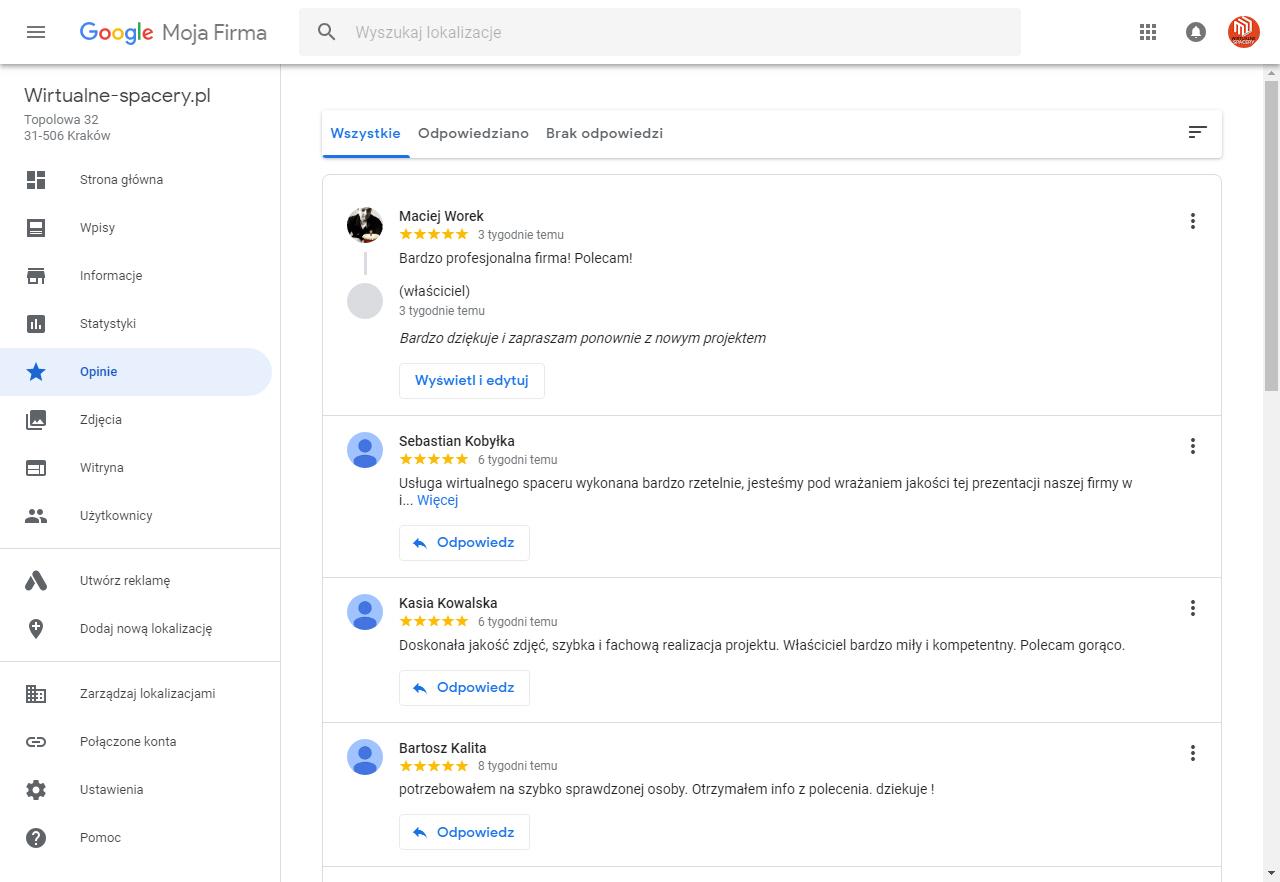 wizytówka firmy w Google opinie