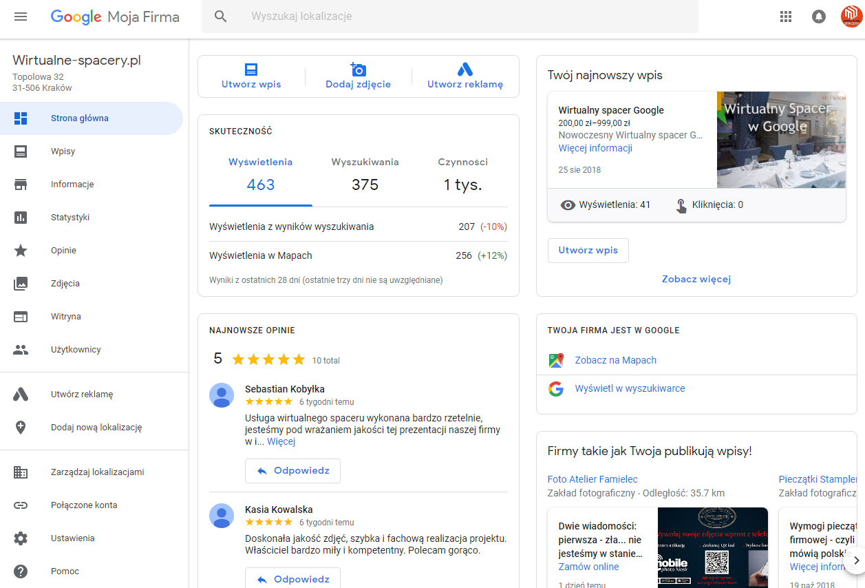 wizytówka firm - -google