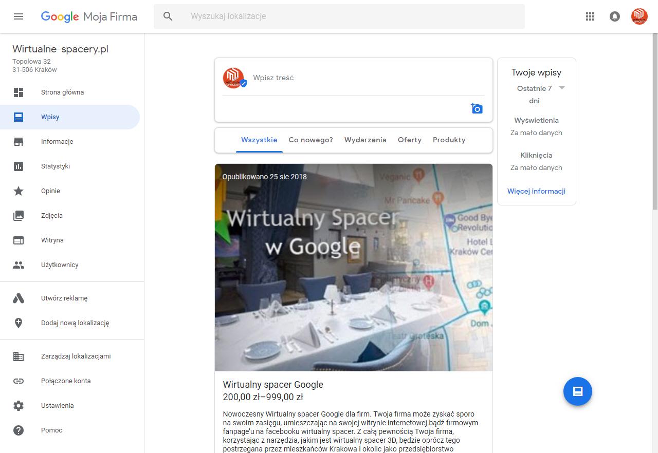 wizytówka na mapach google
