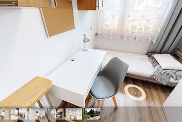 wirtualny spacer mieszkanie pokoje jednoosobowe